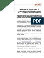 SPAINSIF Y LAS ASOCIACIONES DE CONSUMIDORES ACUERDAN EL IMPULSO DE LA INVERSIÓN RESPONSABLE RETAIL