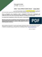 Guida al pagamento del saldo della Tassa Rifiuti Solidi Urbani – Anno 2013