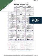 2013 Slovak Calendar
