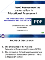 School Based Assessment asTransformation InEducational Assessment