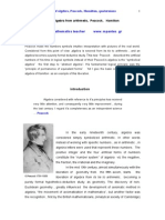 The Liberation of Algebra from arithmetic,Peacock, Hamilton, Quaternions.