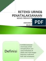 Retensi Urine& Penatalaksanaan