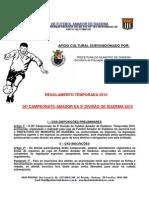 26º CAMPEONATO AMADOR DE 3ª DIVISÃO DE DIADEMA 2010 regulamento