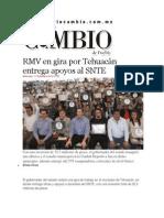 11-12-2013 Diario Matutino Cambio de Puebla - RMV en gira por Tehuacán entrega apoyos al SNTE