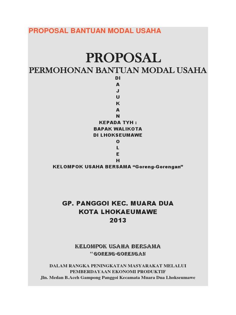 Contoh Proposal Pengajuan Dana Usaha Perorangan Gambaran