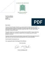 Ed Miliband letter to David Cameron on MPs' pay