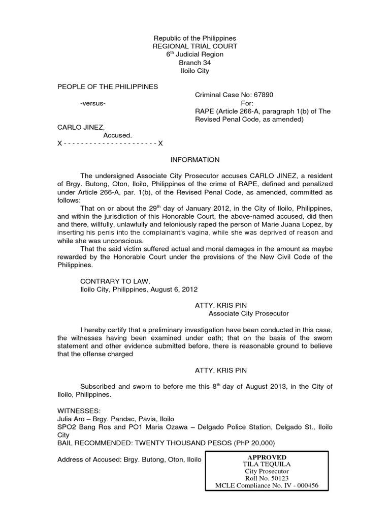 Sample criminal complaint philippines