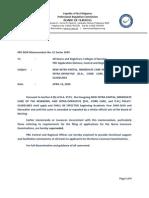 PRC-BON Memorandum Order No. 1 Series of 2009