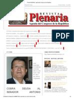Revista PLENARIA , agenda del Congreso de la República