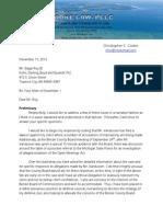 BTA's Attorney Cooke Response to BOC Attorney Mr. Roy 11-11-13