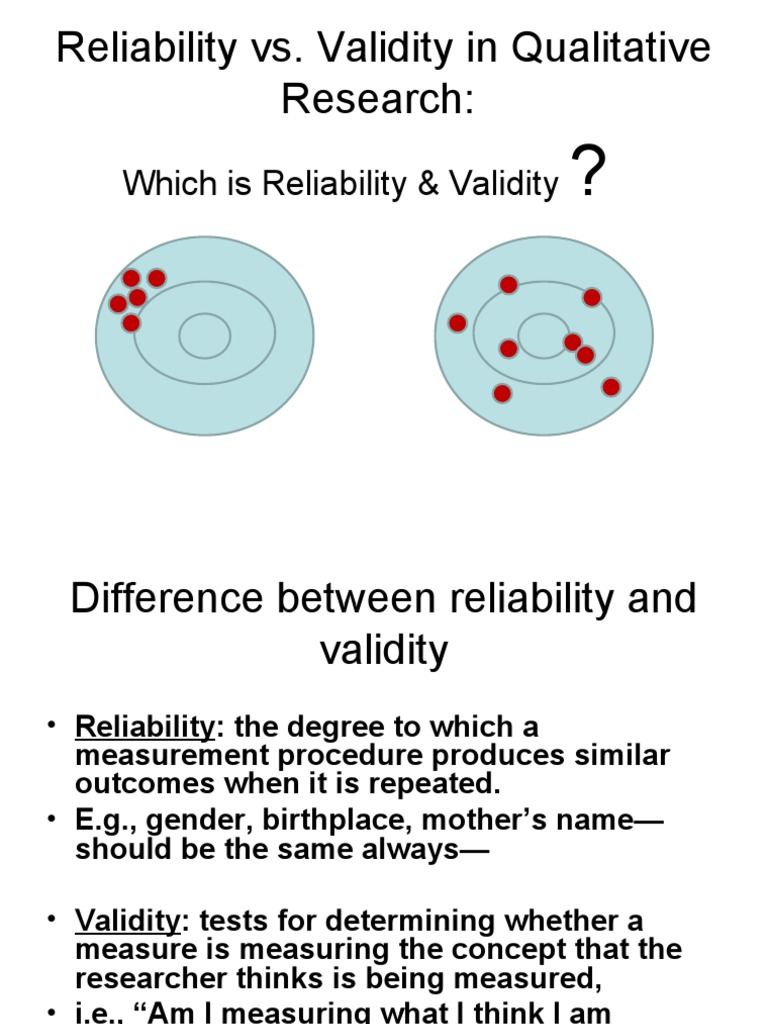 Reliability And Validity Examples  Reliability And Validity Examples