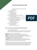 Resumen for IGCSE Business school Exam
