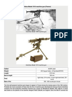 Hotchkiss Model 1914 Machine Gun (France) | Machine Gun