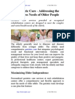 Geriatric Care - Addressing the Wellness Needs of Older People