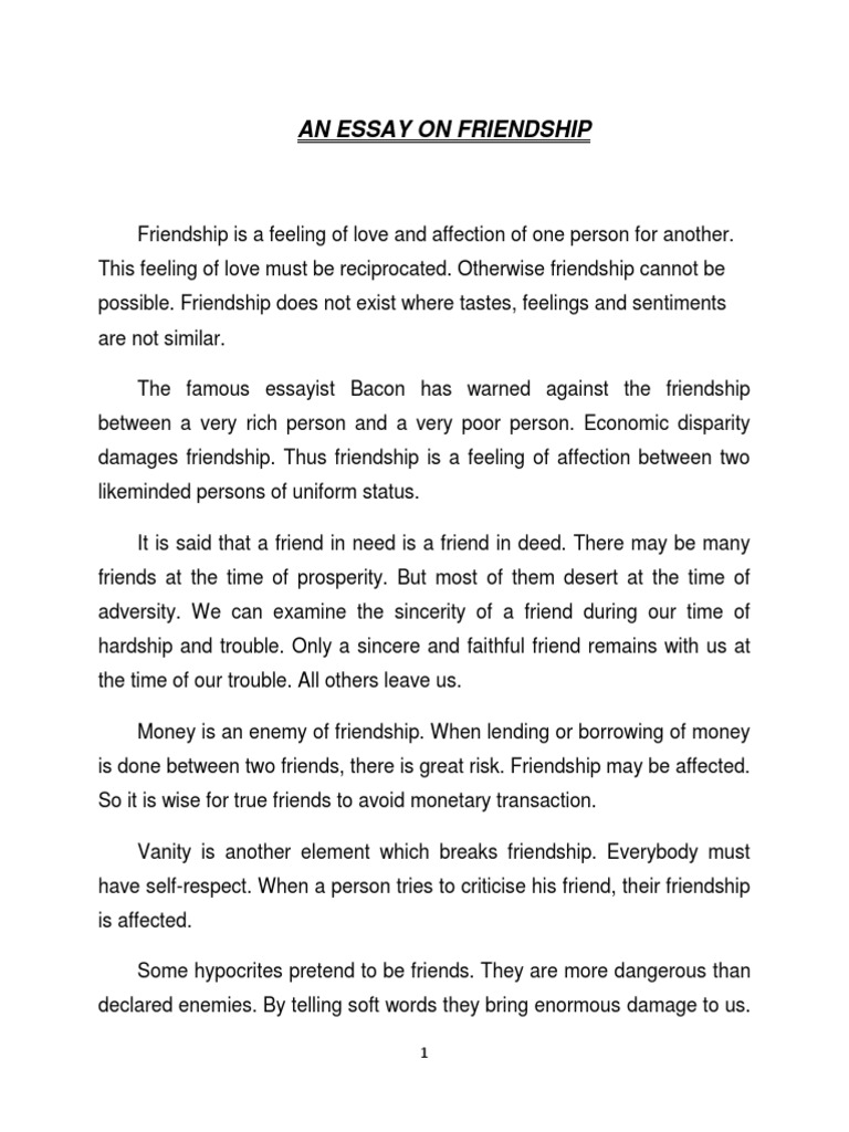 Essay about kind of friendship