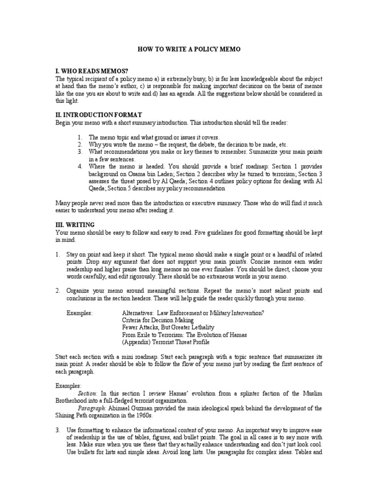 how to write a policy memo how to write a policy