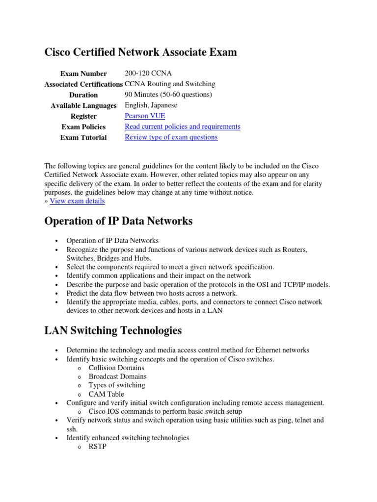 Cisco Certified Network Associate Examsyllabus Network Switch