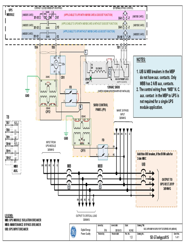 GE UPS SLD 225-500kva Ge Tle Schematic Diagram on