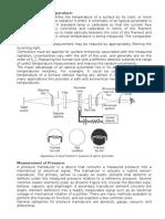 2. Characteristics & Measurement of Temperature, Pressure, Velocity, Flow
