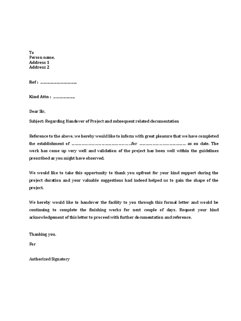 project handover letter draft