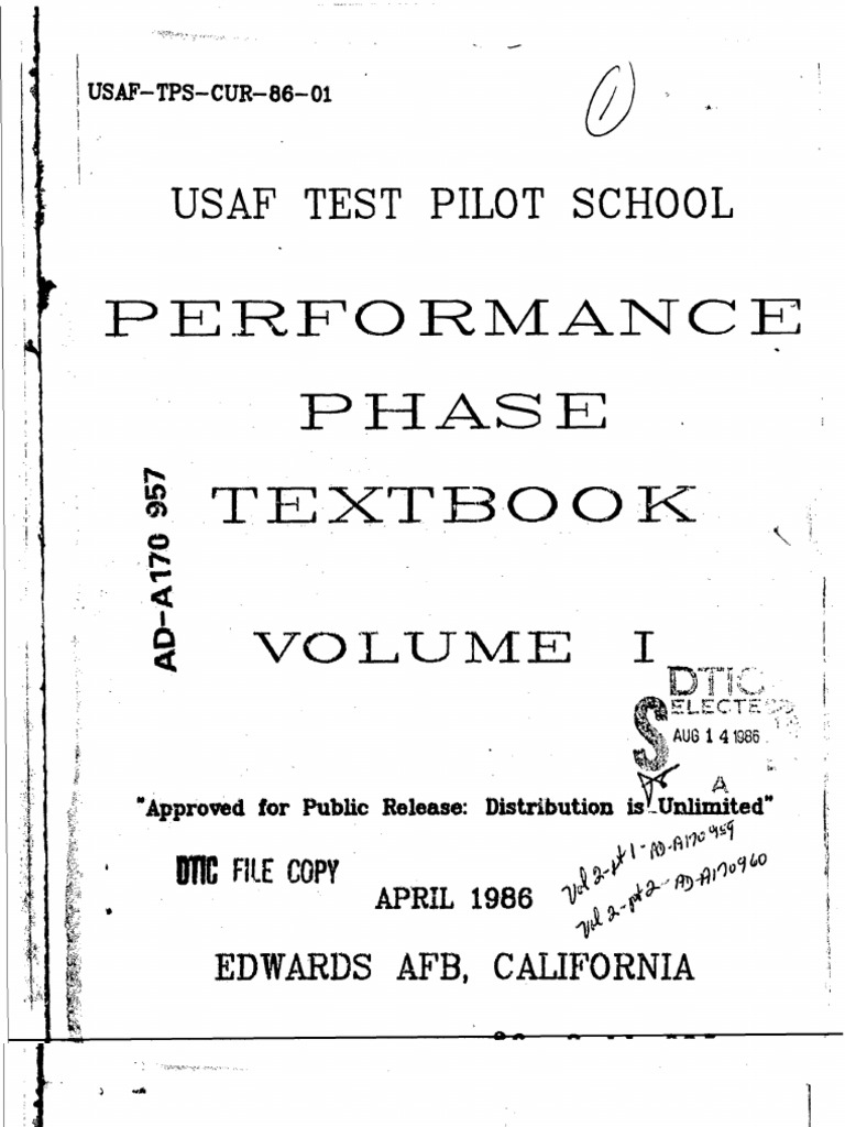 USAF Test Pilot School Performance Phase Textbook Volume1 ...