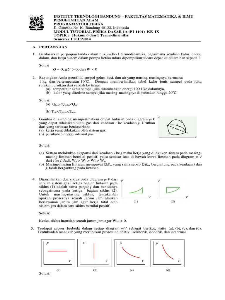 Solusi modul 9 hukum 0 dan 1 termodinamika 4 sks ccuart Choice Image