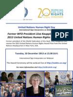 Webcast - UN Human Rights Award