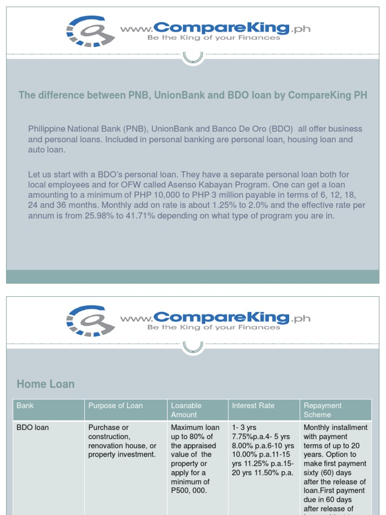 the difference between pnb, unionbank and bdo loan by compareking