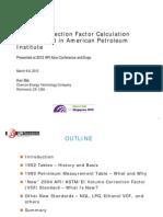 Volume Correction Factor Development