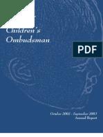 Michigan Office of Children's Ombudsman Annual Report 2002