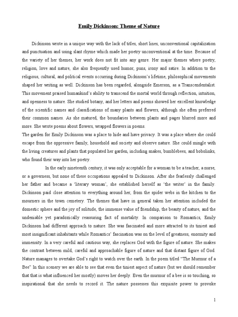 emily dickenson central themes essay Theme of grief in emily dickinson (an essay) 10 august 2014 dickinson's theme of personal grief e mily dickinson has been thought of as one of the best american poets, with tremendous influence on other writers (baym 1659).