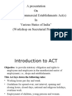 Workshop on Secretarial Practices - Shops and Commercial Establishments Act(s) in various states of India