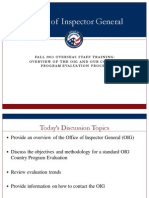Peace Corps OIG FALL 2013 OVERSEAS STAFF TRAINING:OVERVIEW OF THE OIG AND OUR COUNTRY PROGRAM EVALUATION PROCESS