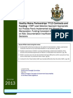 Healthy Maine Partnerships' FY13 Contracts and Funding
