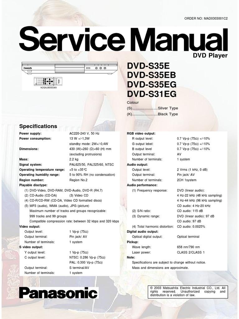 Panasonic Dvd-s31eg s35e Eb Eg | Electrostatic Discharge