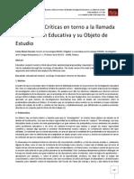 Reflexiones Críticas en torno a la llamada Investigación Educativa y su Objeto de Estudio