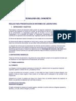 Reglamento Para Elaborar Informe Tecnologia Del Concreto