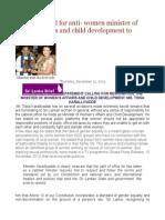 Sri Lanka Call for Anti- Women Minister of Women's Afairs and Child Development to Resign