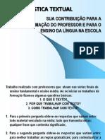 LINGUISTICA TEXTUAL E FORMAÇÃO DE PROFESSOR