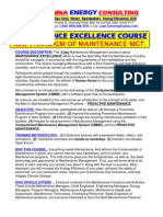 Maintenance Excellence Course Outline