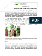 Cleaning Agents Used in Hotel Housekeeping