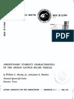 Apollo 15 Aerodynamic Stability Characteristics Of The Apollo Launch Escape Vehicle By NASA