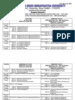 MBA Datesheet 3rd semester