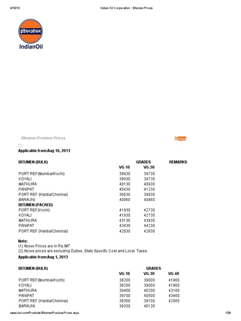 Indian Oil Corporation __ Bitumen Prices   Tonne   Excise