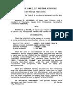Deed of Sale of Motor Vehicle - Edwin Verano