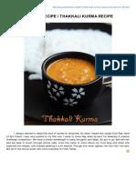 Rakskitchen.net-Tomato Kurma Recipe Thakkali Kurma Recipe