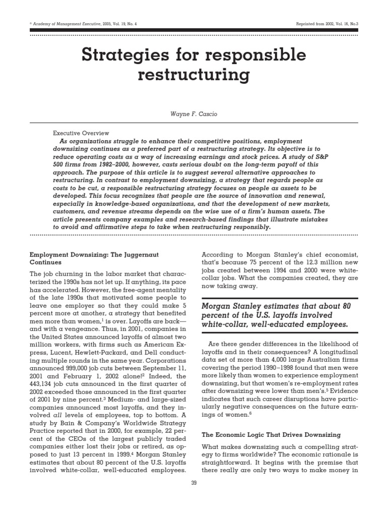 Restructuring | Layoff | Employment