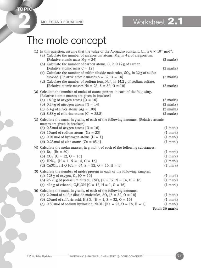worksheet The Mole Worksheet Answers moles and equations worksheets 2 1 11 ans mole unit sodium carbonate
