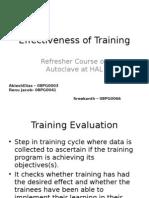 Effectiveness of Training