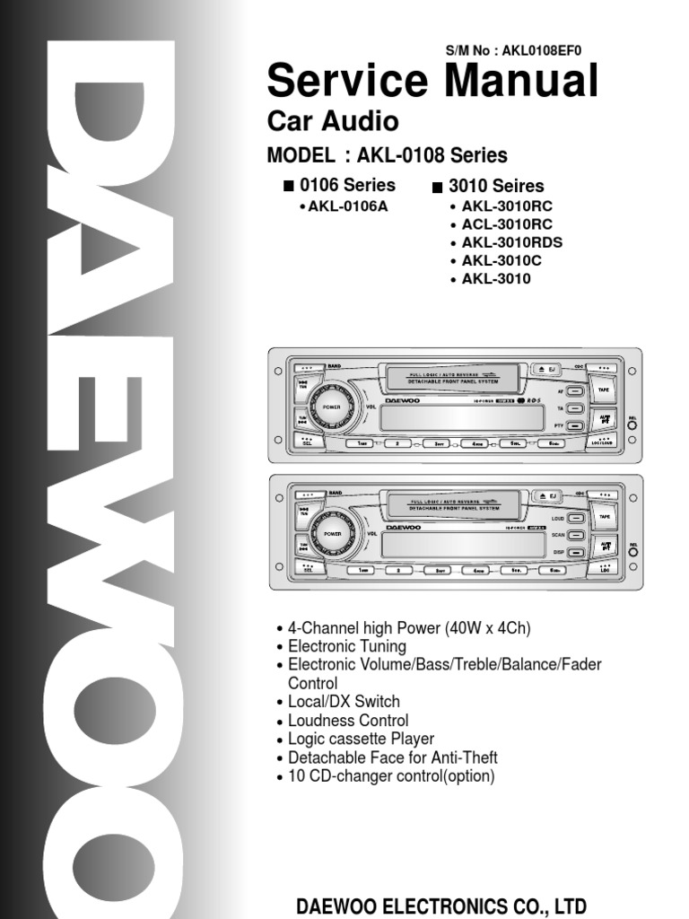 daewoo akl 0106a car audio service manual. Black Bedroom Furniture Sets. Home Design Ideas